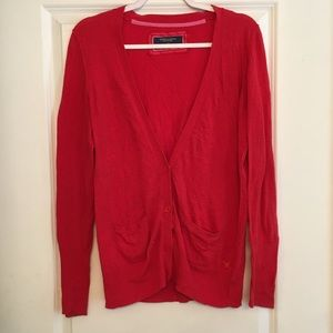 American Eagle red cardigan v neck with pockets